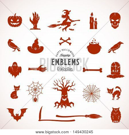 Vector Halloween Silhouettes, Icons or Symbols. Construction Elements for Labels, Invitations, Posters and Flyers. Isolated.