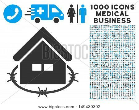 Prison Building icon with 1000 medical commerce gray and blue vector pictograms. Collection style is flat bicolor symbols, white background.