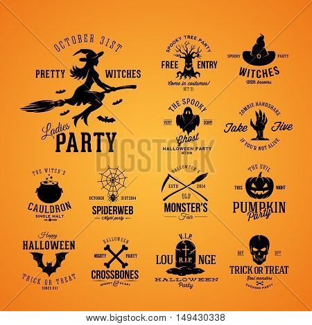 Vintage Halloween Vector Badges or Labels Templates. Witch, Ghost, Skull, Grave, Bats and Other Symbols with Retro Typography. Black on Orange Background.