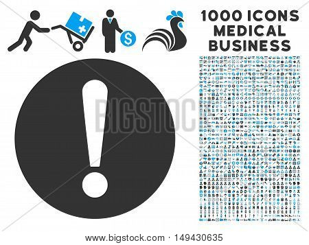 Problem icon with 1000 medical commercial gray and blue vector pictograms. Clipart style is flat bicolor symbols, white background.