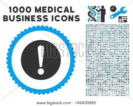 Problem icon with 1000 medical commerce gray and blue vector pictograms. Collection style is flat bicolor symbols, white background.