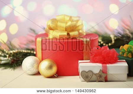 Christmas presents and decoration on white table
