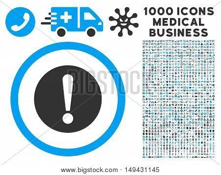 Problem icon with 1000 medical commerce gray and blue vector design elements. Set style is flat bicolor symbols, white background.