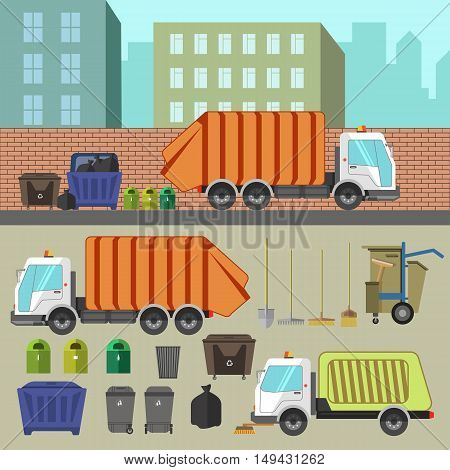 Trash recycling and removal. Illustration of trucks transporting garbage and waste, cans and sorting. Set of vector elements for design. Isolated on white background