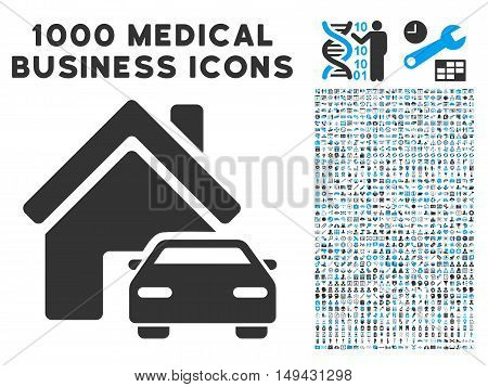 Property icon with 1000 medical commerce gray and blue vector pictograms. Design style is flat bicolor symbols, white background.