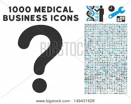 Question icon with 1000 medical business gray and blue vector pictograms. Clipart style is flat bicolor symbols, white background.