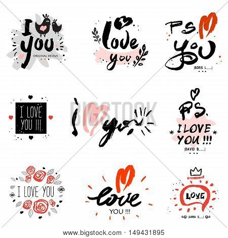 I love you, illustration and logo. A collection of hand-drawn lettering, inspirational quotes. I love you, sign, message, card