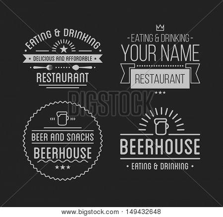 Vintage logo. Coffee shop template. Restaurant label. Beer house label. Graphic design element for business cafe, bar, pub. Vector Illustration isolated on background.