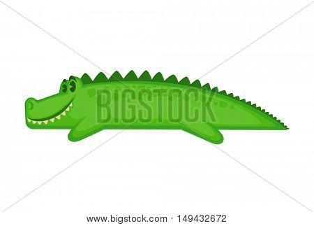 Vector cartoon cute crocodile isolated on white background.