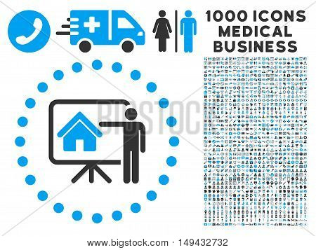 Realtor Presentation icon with 1000 medical commercial gray and blue vector pictograms. Collection style is flat bicolor symbols, white background.