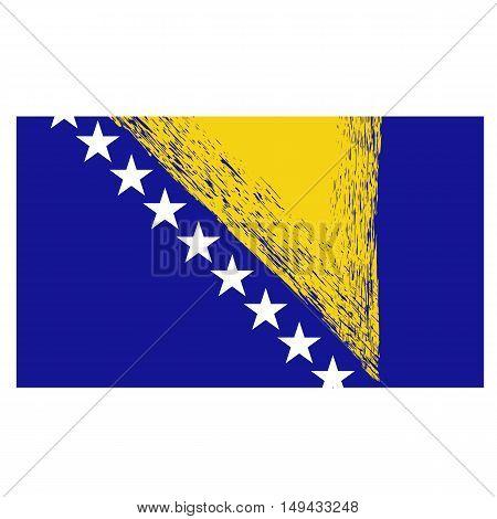 Bosnia and Herzegovina Flag Isolated on White Background.