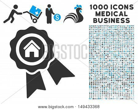 Realty Award icon with 1000 medical business gray and blue vector pictograms. Set style is flat bicolor symbols, white background.