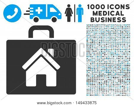 Realty Case icon with 1000 medical commercial gray and blue vector design elements. Set style is flat bicolor symbols, white background.