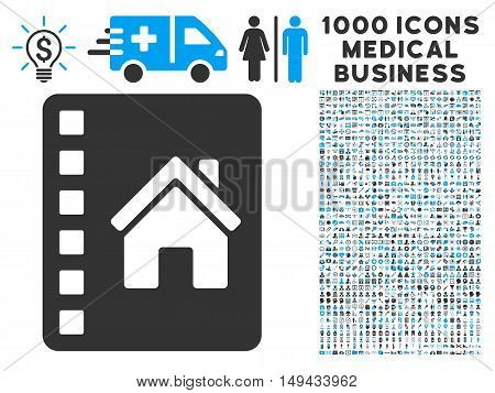 Realty Catalog icon with 1000 medical commercial gray and blue vector pictographs. Design style is flat bicolor symbols, white background.