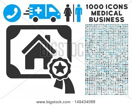 Realty Certification icon with 1000 medical business gray and blue vector pictographs. Clipart style is flat bicolor symbols, white background.