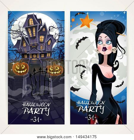 Vertical Banners For Halloween Party With Witch And Her Home On Full Moon Background