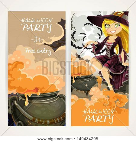Vertical Banners For Halloween Party With Witch And Cauldron Of Potion