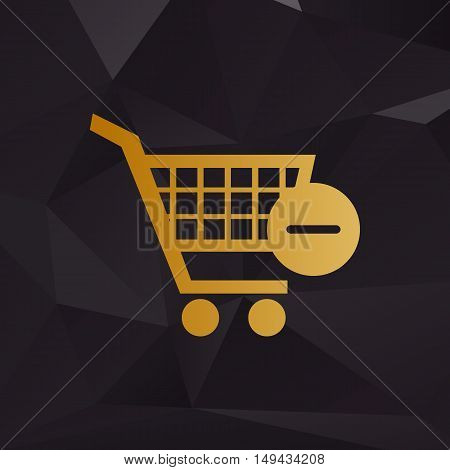 Vector Shopping Cart With Remove Sign. Golden Style On Background With Polygons.