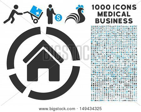 Realty Diagram icon with 1000 medical commerce gray and blue vector pictographs. Design style is flat bicolor symbols, white background.