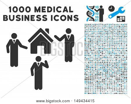 Realty Discuss Persons icon with 1000 medical commerce gray and blue vector pictographs. Collection style is flat bicolor symbols, white background.