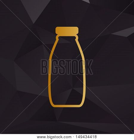 Milk Bottle Sign. Golden Style On Background With Polygons.