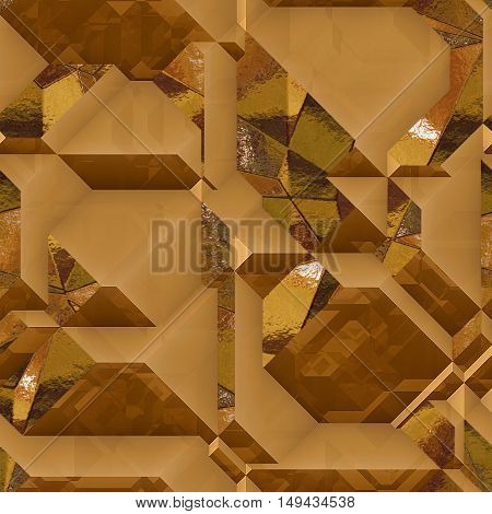 Abstract generated 3d metal background of blocks with gold shiny facets. Gold, brown and orange background of geometric blocks and light reflections