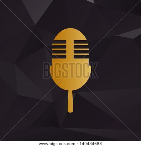 Retro Microphone Sign. Golden Style On Background With Polygons.