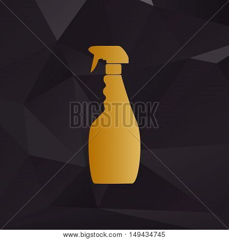 Plastic Bottle For Cleaning. Golden Style On Background With Polygons.