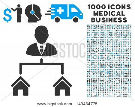 Realty Manager icon with 1000 medical commercial gray and blue vector pictographs. Clipart style is flat bicolor symbols, white background.