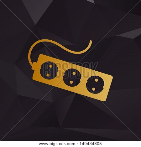 Electric Extension Plug Sign. Golden Style On Background With Polygons.
