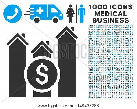 Realty Price Charts icon with 1000 medical commerce gray and blue vector design elements. Collection style is flat bicolor symbols, white background.