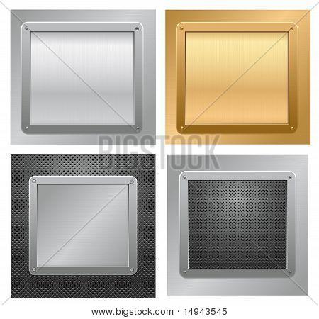 Cuatro fondos de la placa metálica. Vector.