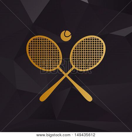 Tennis Racket Sign. Golden Style On Background With Polygons.