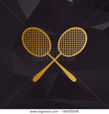 Tennis Racquets Sign. Golden Style On Background With Polygons.