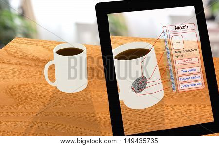 Augmented reality coffee police investigation seen through a tablet with fingerprint analysis 3D illustration