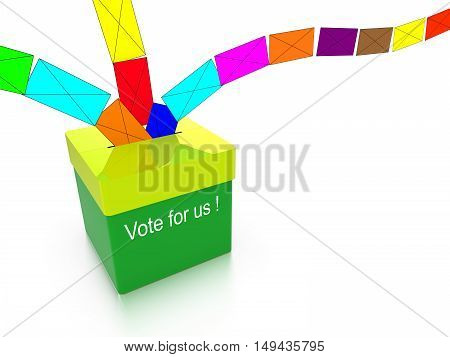 Ballot box in green with the words vote for us and multiple colored letters flying in from all directions isolated on white 3D illustration