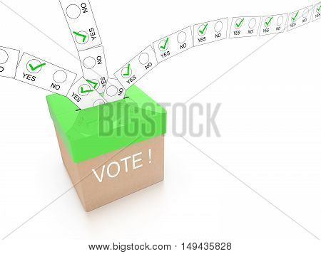 Ballot box in green with the word vote and multiple letters showing yes flying in from all directions isolated on white 3D illustration
