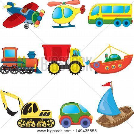 Cartoon transport toys set. Vector illustration for coloring