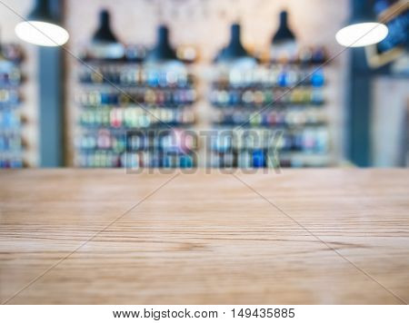 Table top counter Bar Blur Wine Shelf display on background