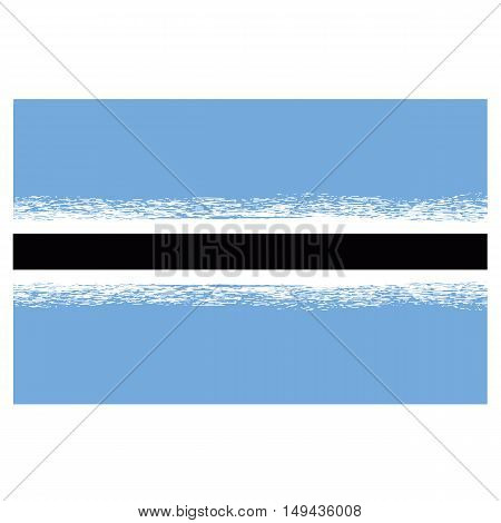 Republic of Botswana Flag Isolated on White Background