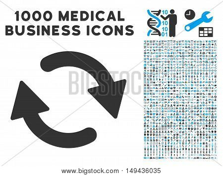 Refresh icon with 1000 medical commercial gray and blue vector pictograms. Design style is flat bicolor symbols, white background.