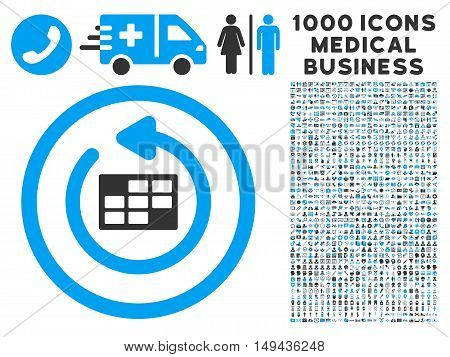 Refresh Calendar icon with 1000 medical business gray and blue vector design elements. Collection style is flat bicolor symbols, white background.