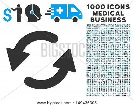 Refresh CCW icon with 1000 medical business gray and blue vector pictographs. Collection style is flat bicolor symbols, white background.