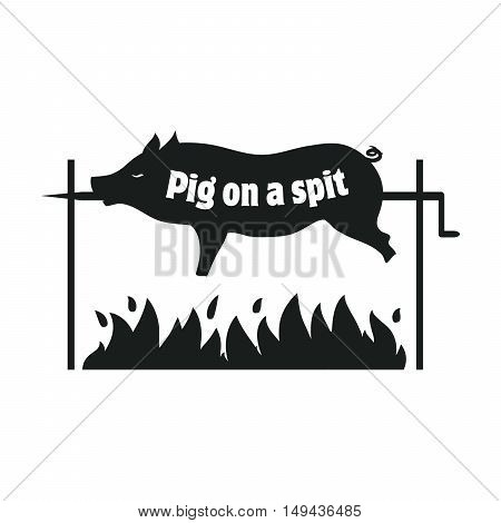 Grilled pig. Pig on spit. Roasting piglet. BBQ pork. Black icon on a white background
