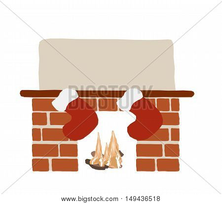 Christmas fireplace with orange bricks fire and hanging red socks. Flat style christmas illustration.