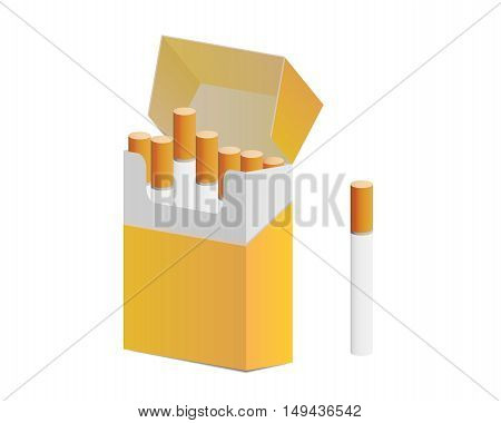 Pack Of Cigarettes And One Cigarette Out Of Pack
