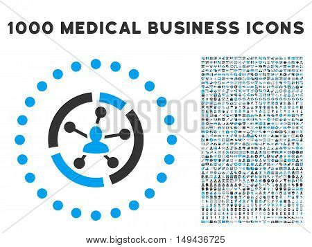 Relations Diagram icon with 1000 medical business gray and blue vector pictographs. Collection style is flat bicolor symbols, white background.