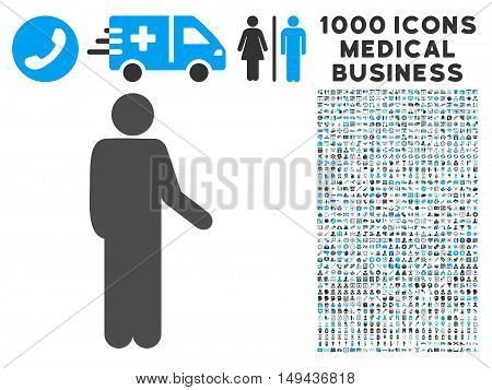 Relax Standing Pose icon with 1000 medical commerce gray and blue vector pictograms. Collection style is flat bicolor symbols, white background.