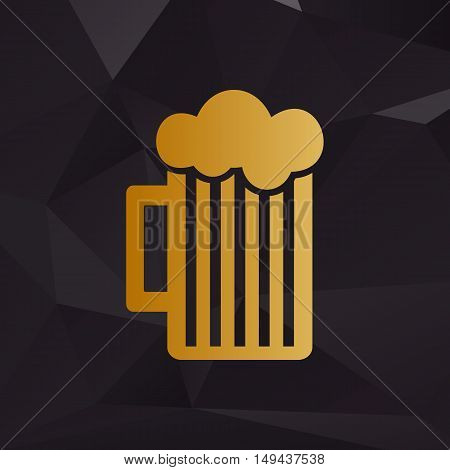 Glass Of Beer Sign. Golden Style On Background With Polygons.