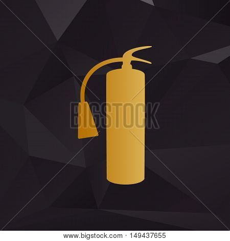 Fire Extinguisher Sign. Golden Style On Background With Polygons.
